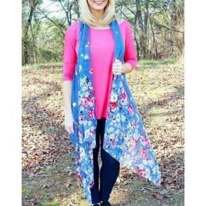 Chambray Floral Spring Vest Cover Up